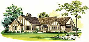 Efficient Floor Plan 2112 sq. ft.; 2 Bedrooms; 3 Baths   A Tudor exterior with an efficient floor plan is favored by many. Each of the three main living zones in this plan are within a few steps of the foyer for easy traffic flow.  National Average Cost to Build: $232,320.00