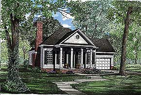 Reminiscent Of Fine Greek Revival Style 1404 sq. ft.; 3 Bedrooms; 2 Baths   Graceful columns, reminiscent of fine Greek Revival style, adorn the covered front porch of this compact yet elegant design. The entry opens directly to the living room and its fireplace. National Average Cost to Build: $154,440.00